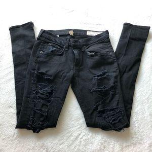 Rag and Bone Distressed Black Skinny Jeans